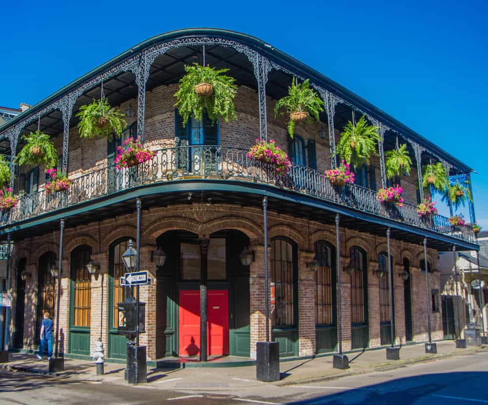 House in French Quarter, New Orleans in 18th century Spanish colonial style