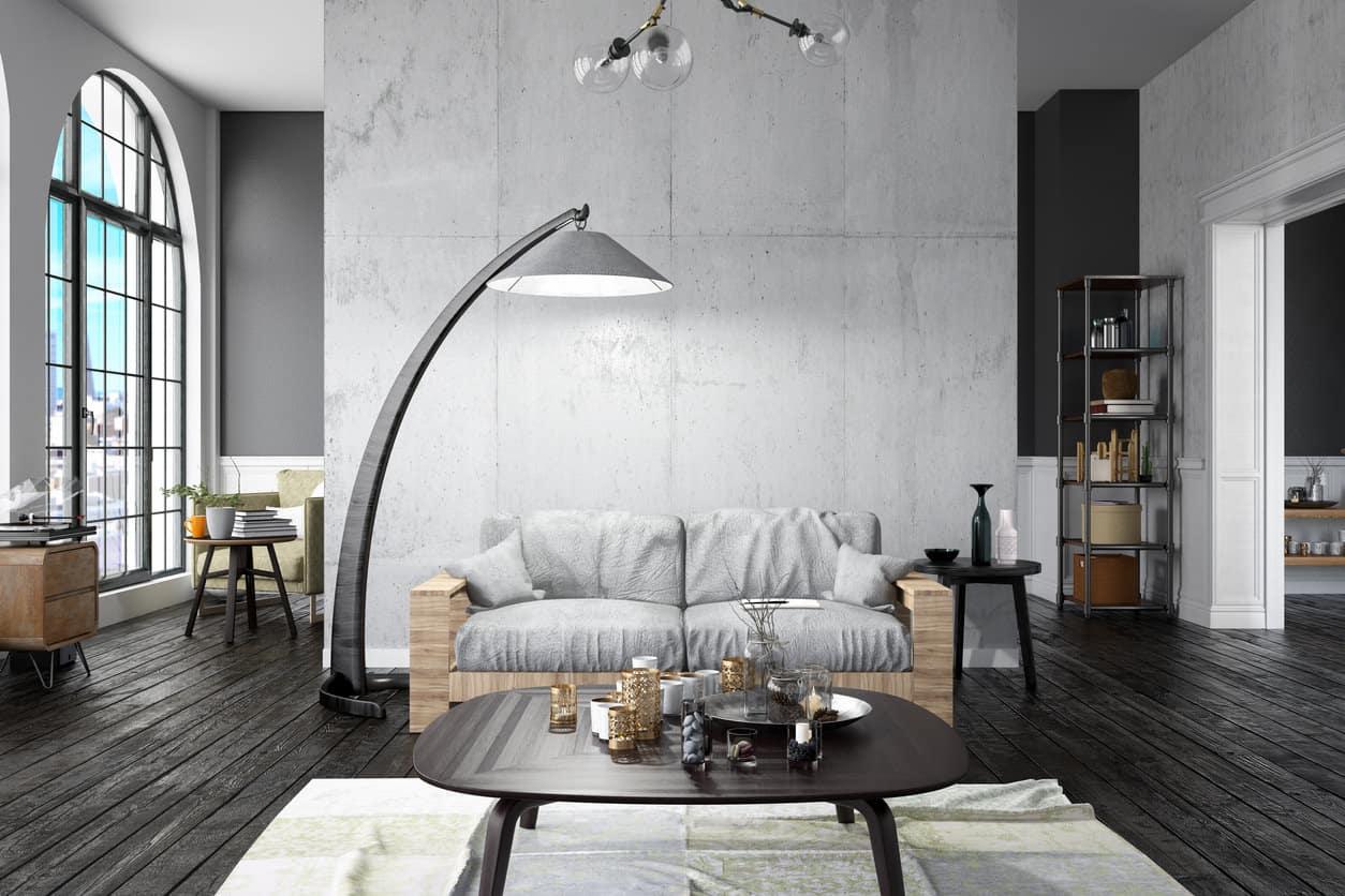 Loft Living Room In Open Concept Industrial Interior Design