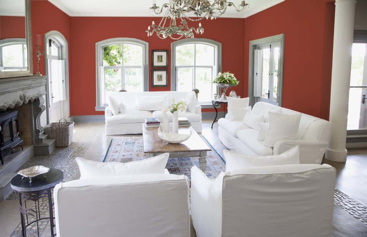 Red Living Room Interior - Pantone 180