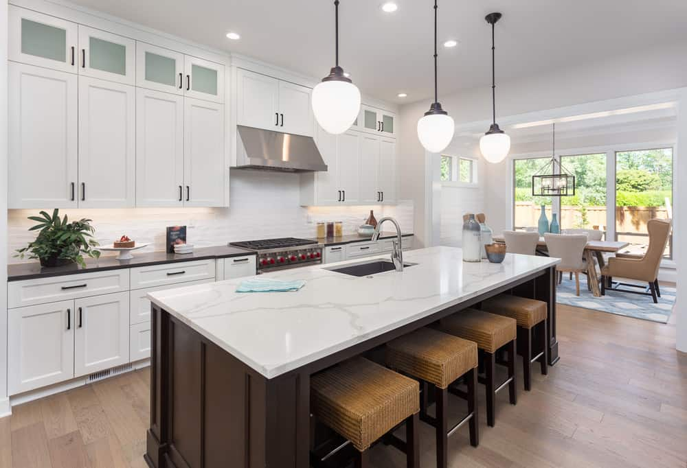 Marble island surface in kitchen