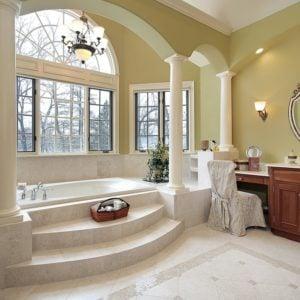 Master bathroom with stunning alcove bathtub
