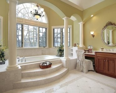 Master bathroom with stunning alcove bathtub