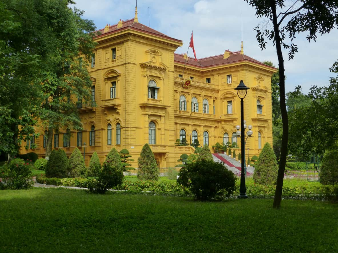 Ho Chi Minh Presidential Palace, Hanoi Vietnam is an example of French colonial architecture.