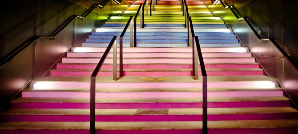 Rainbow colored stairs