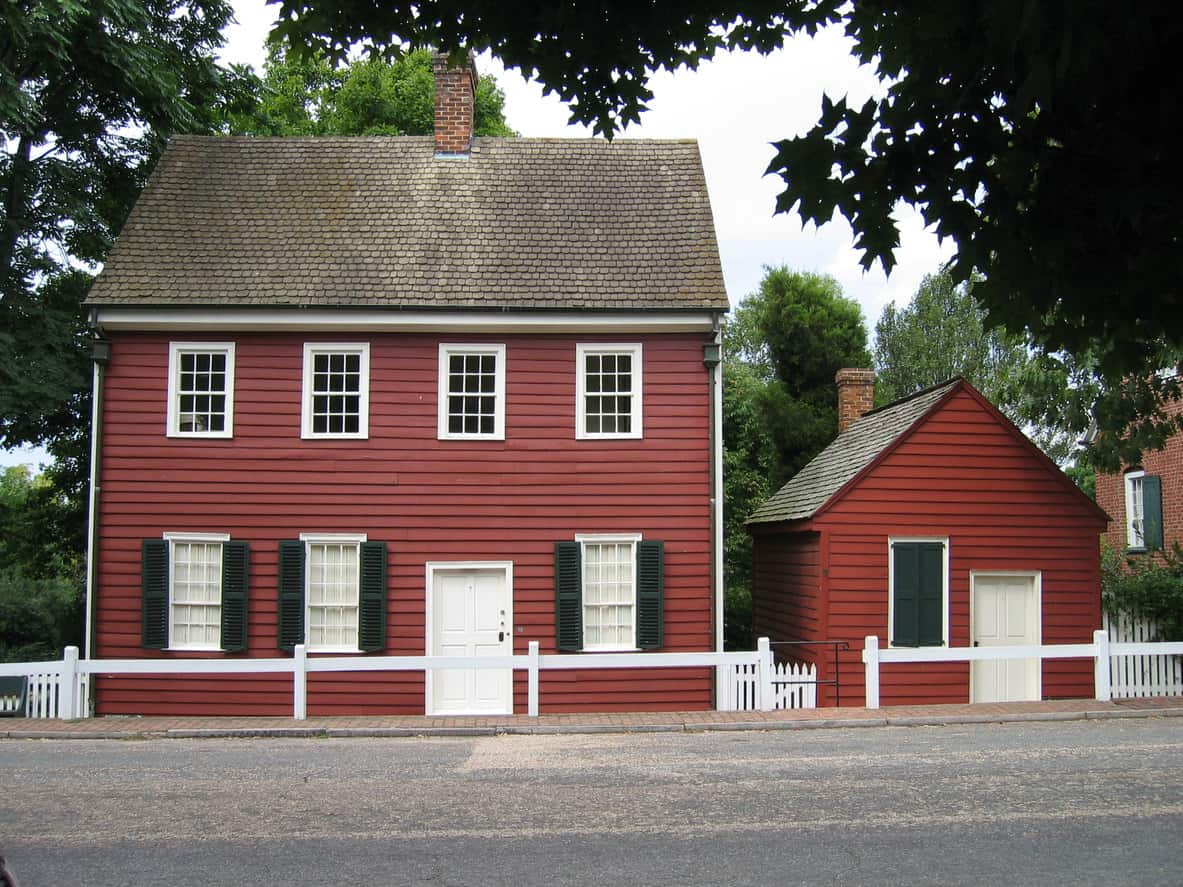 Old red house in Old Salem, North Carolina.
