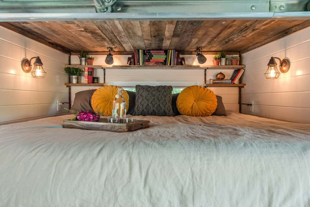 Small cozy tiny house bedroom loft with great lighting