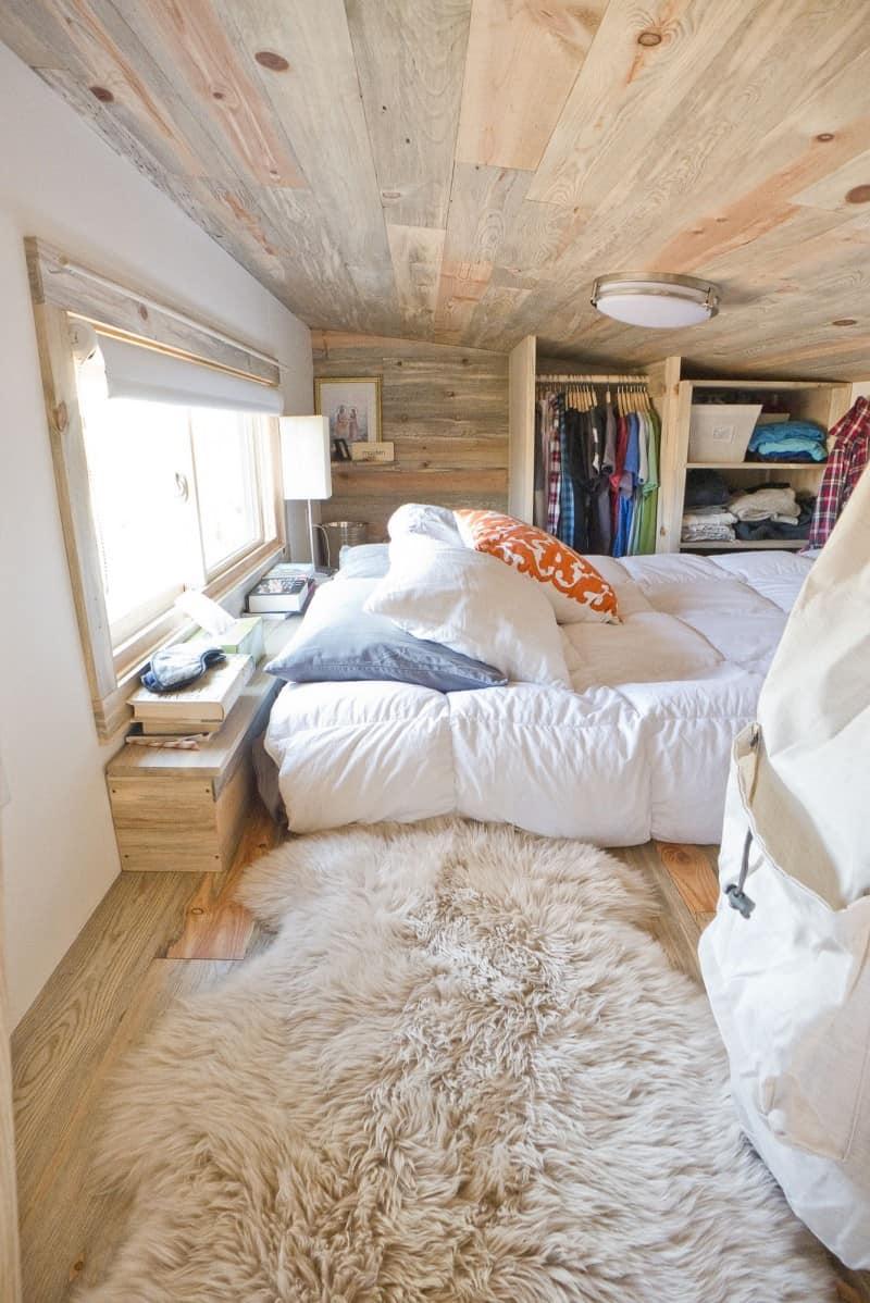 Tiny house bedroom with closet area