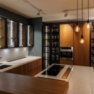 Kitchen with white cabinet light