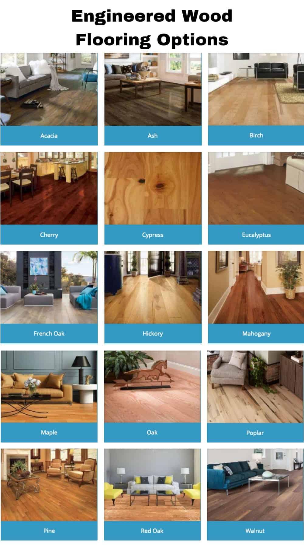 Wood species for engineered wood flooring