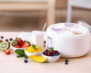Ingredients and a yogurt maker on a table