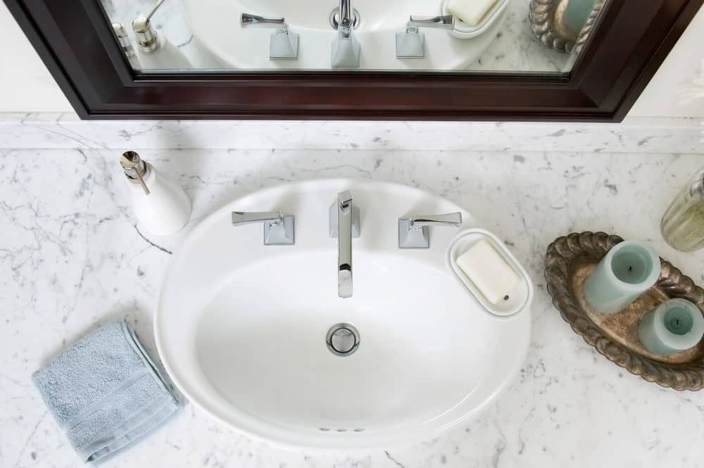 Top view of a bathroom sink.