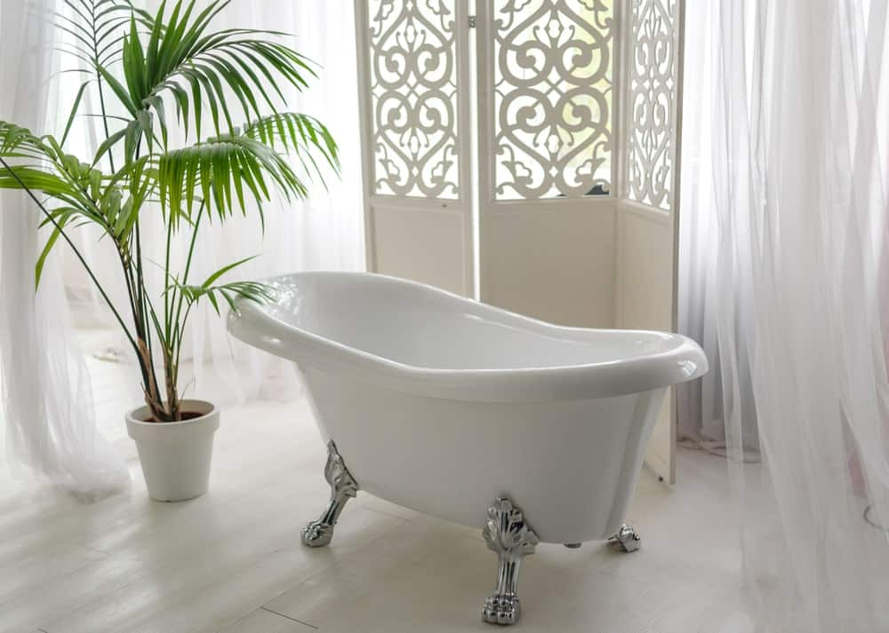 Freestanding bathtub beside an indoor palm plant in a white bathroom.