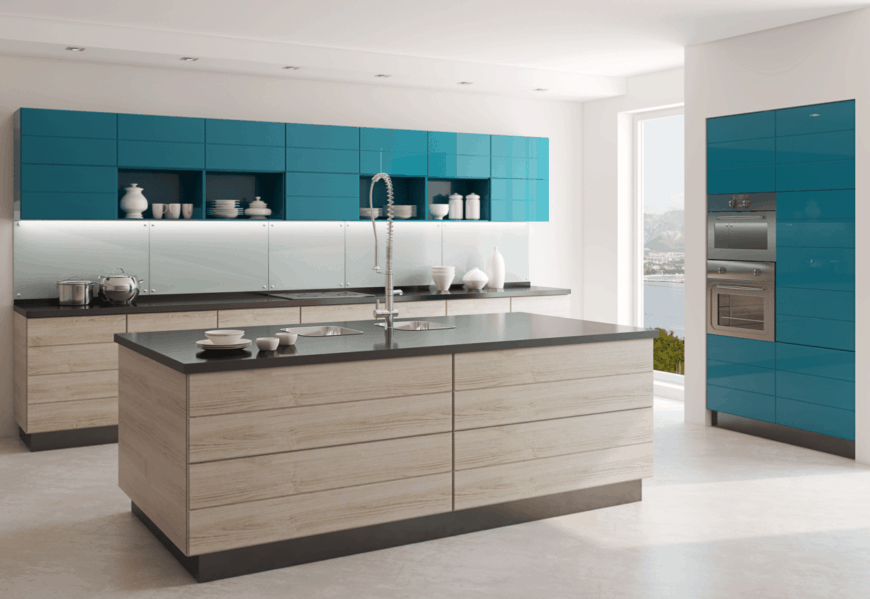 Modern kitchen boasts blue upper cabinetry with shelves and a light wood lower cabinetry that matches with the kitchen island fitted with dual sink and a pull-out faucet.