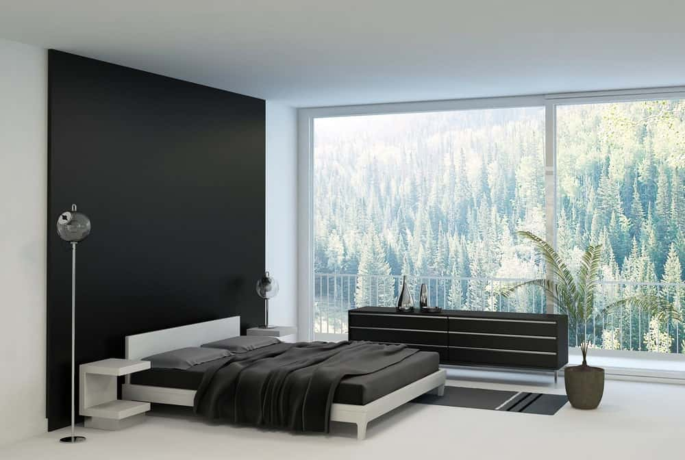 A minimalistic black and white room with a huge glass wall on one side, a lush view, and simple accent pieces.