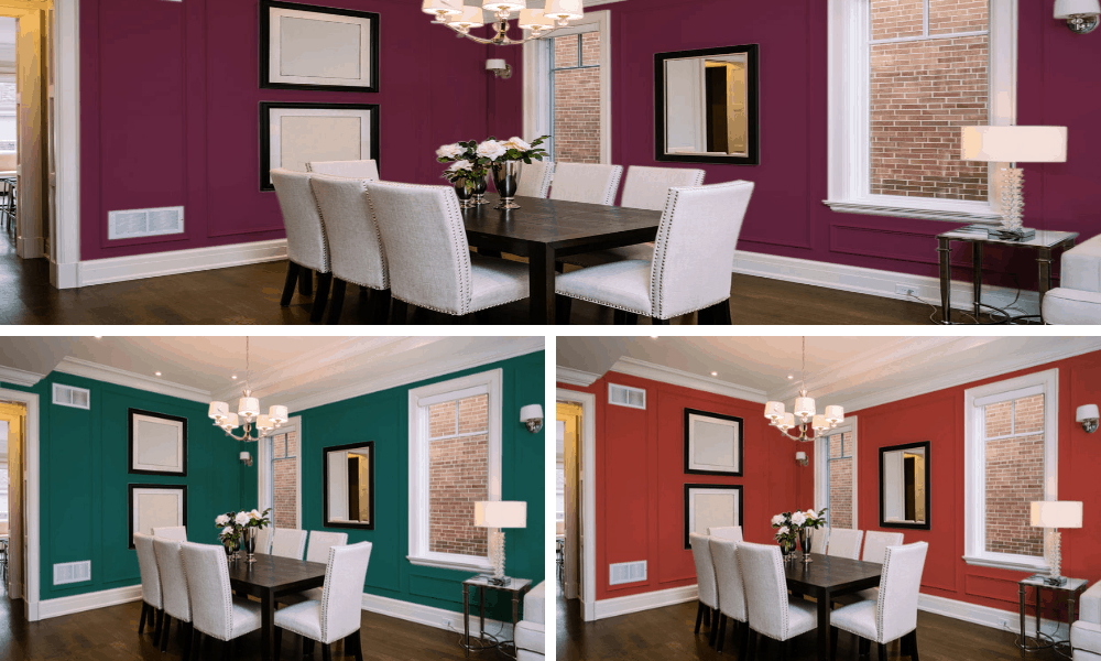 Different colors of dining room collage.