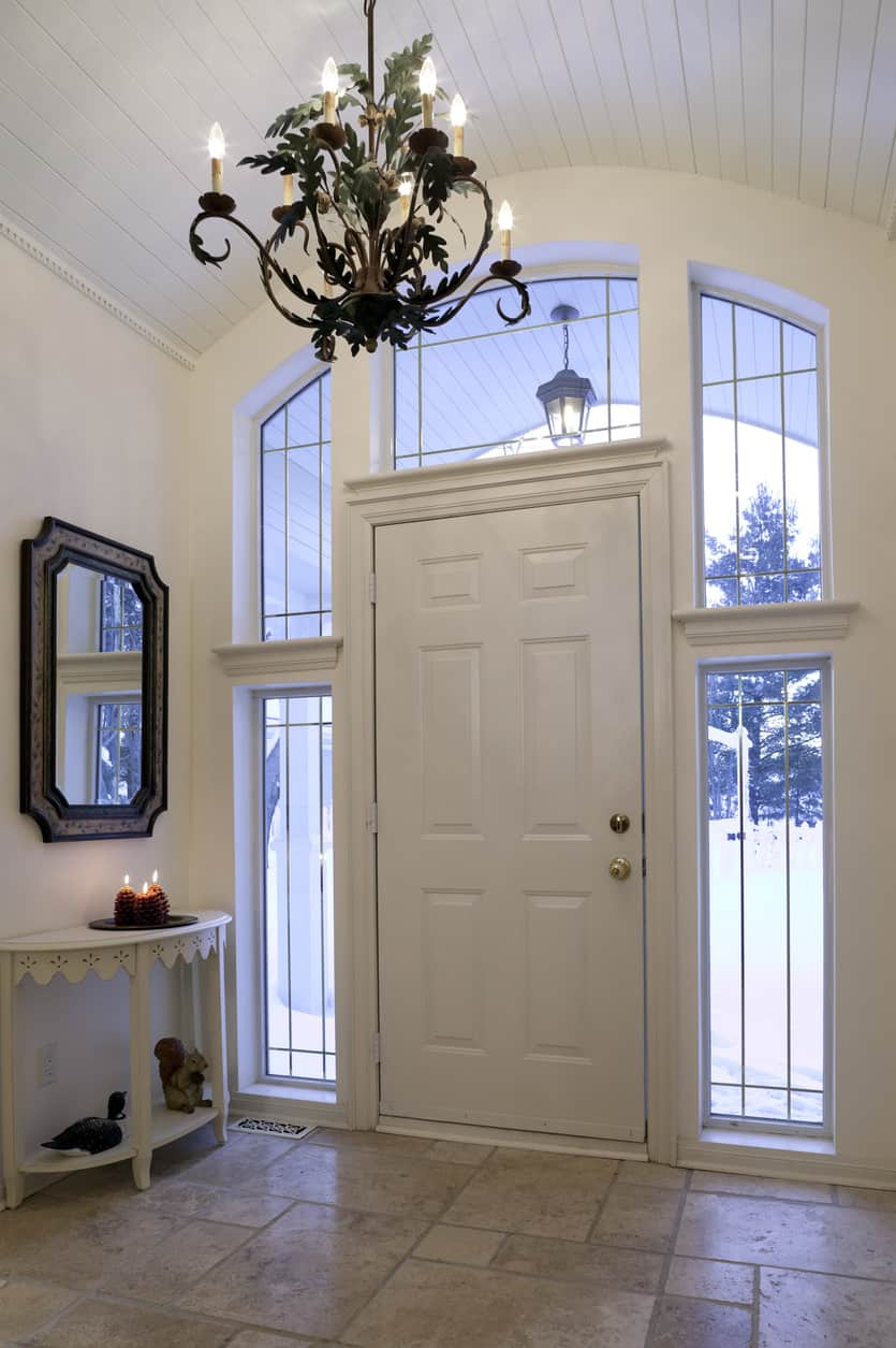 Foyer entry hall with candlestick chandelier