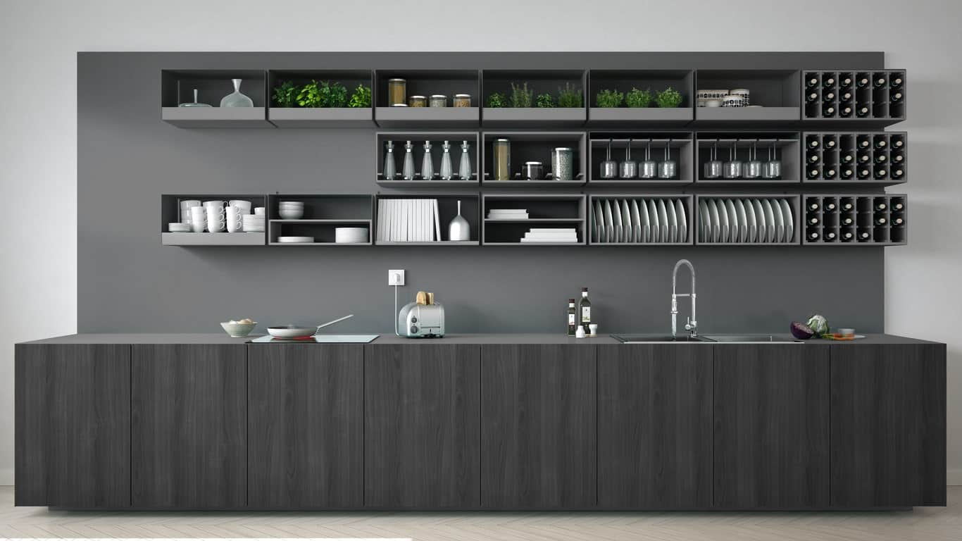 Single wall kitchen featuring a gray wall matching the gray shelving and the gray kitchen and sink counter.