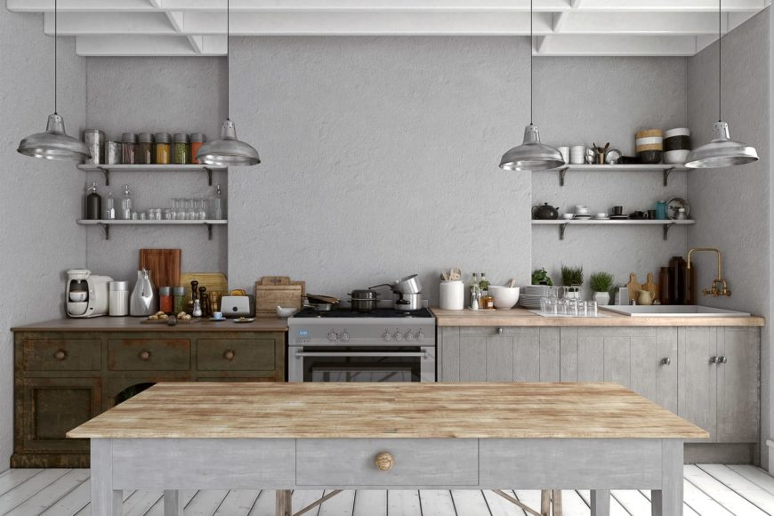 Single wall kitchen featuring rustic kitchen counters, white hardwood floors and gray walls together with a ceiling with exposed beams.