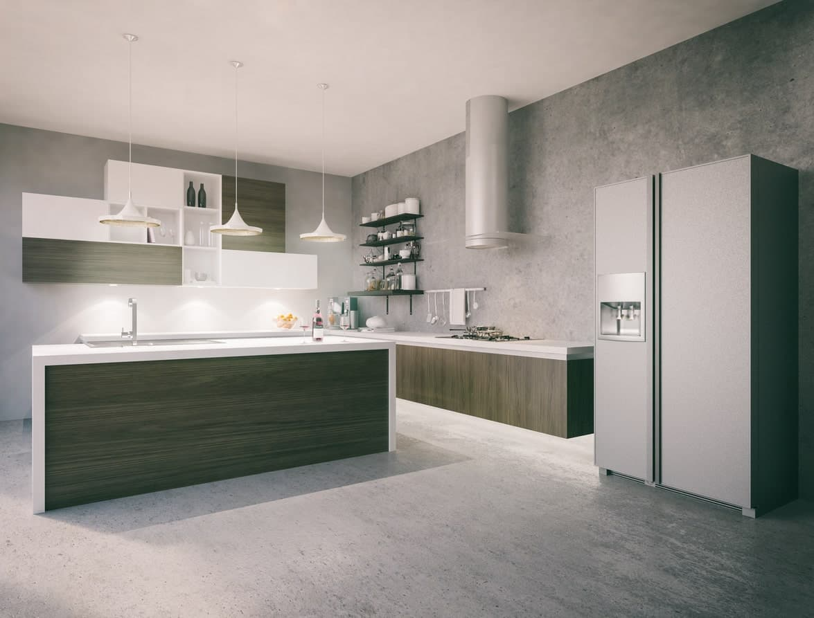 L-shaped kitchen featuring gray walls and floors, along with a modish center island and kitchen counters.
