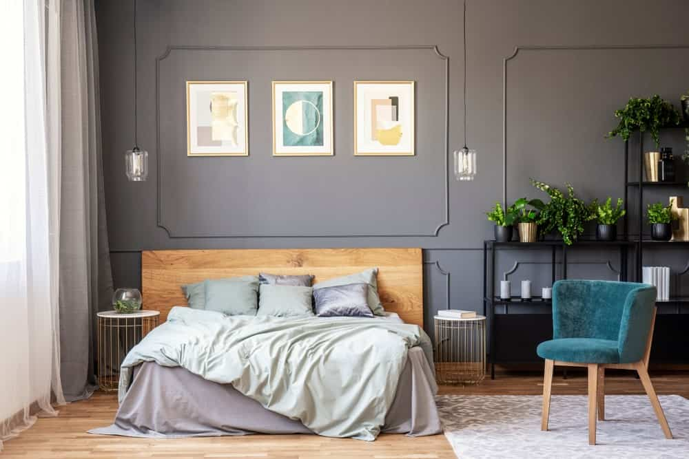 Modern primary bedroom featuring gray walls, a black piece of furniture on the side and pendant lights along with hardwood floors.