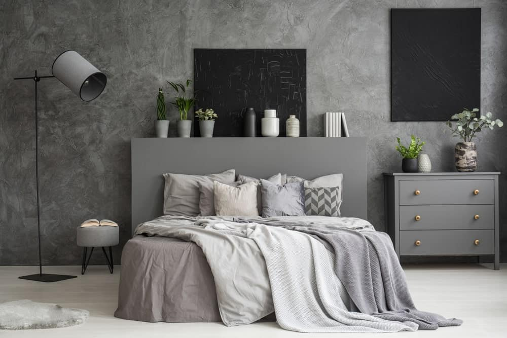 Contemporary primary bedroom with stunning gray walls and a stylish gray bed. The black wall decors add style to the room.