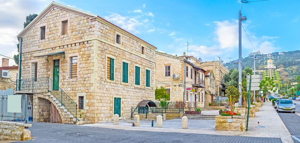 The small stone houses of German Colony located on the both sides of Ben Gurion Boulevard, Haifa, Israel