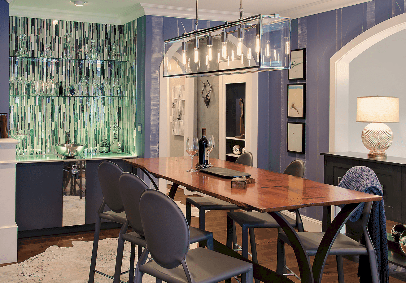 A Creative Dining Area With Playful Decors, A Long Rectangular Wooden Table  For Six,