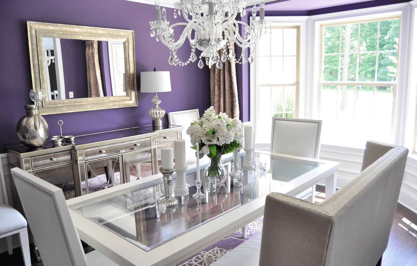 Beau A Touch Of Victorian Style, This Dining Room Has Purple Walls, Paired With A