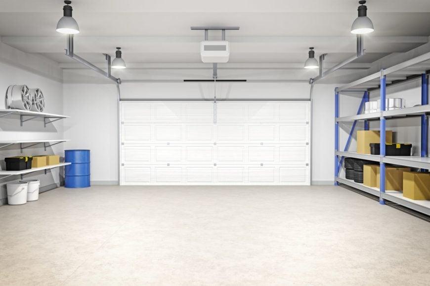 Garage interior with overhead lighting.