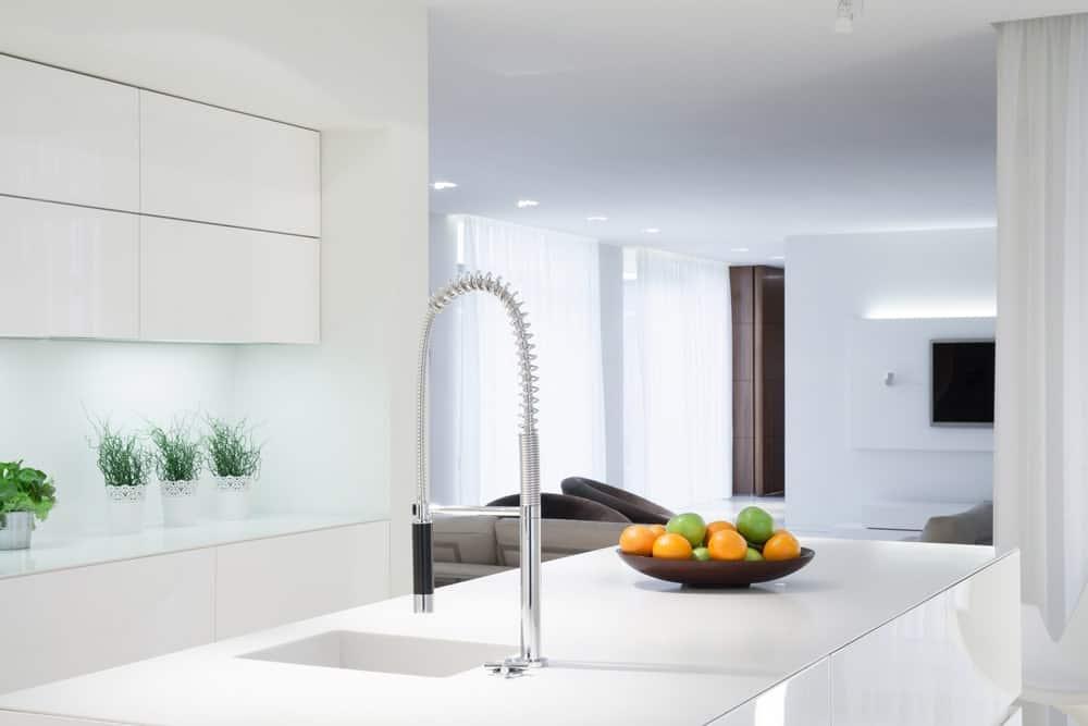 Kitchen faucet in a modern kitchen.