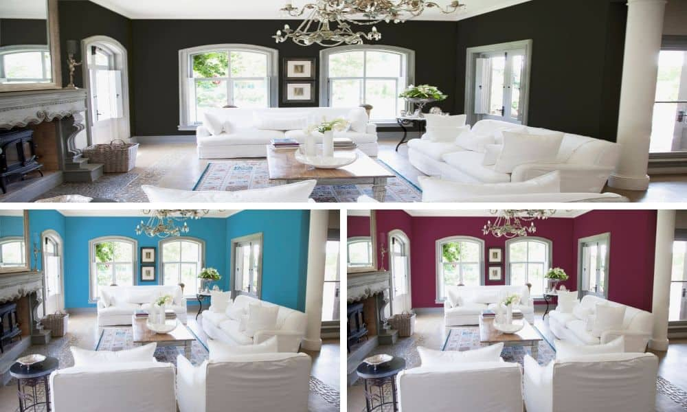 Different colors of living room interior.
