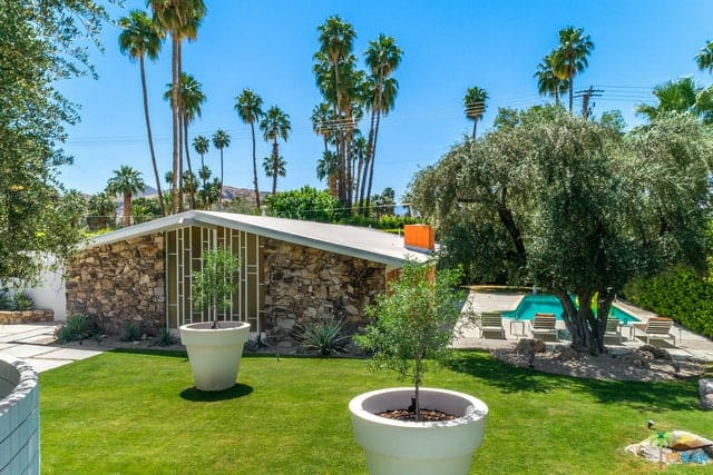 The enclosed backyard with a view of the pool surrounded by palm, olive, and citrus trees and featuring the stone wall at the home front.
