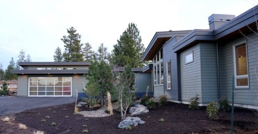 Minimal landscaping with pine trees and succulents for a low maintenance yard.