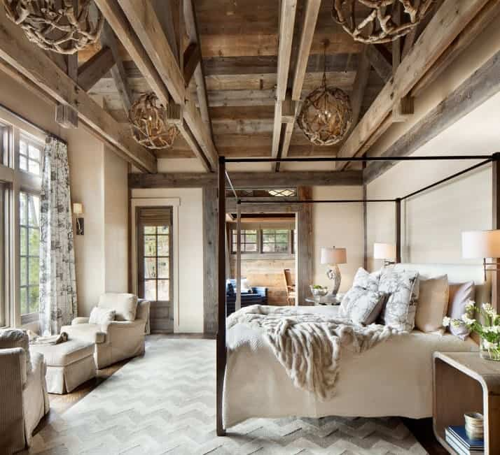 Rustic master bedroom with incredible wood-beamed ceiling