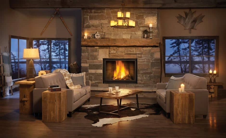 The two gray cushioned sofas are flanking a wood top coffee table. This matches with the wooden end tables and the console table behind one of the sofas. These are all augmented by the warm yellow lights coming from the fireplace and the various candles.