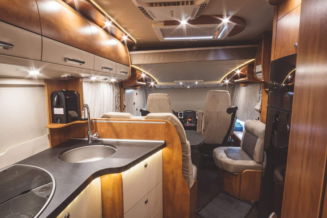 Interior lighting of a modern motorhome.
