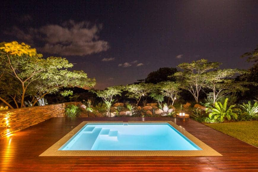 A tranquil swimming pool surrounded by a wooden deck and features fern plants and trees.