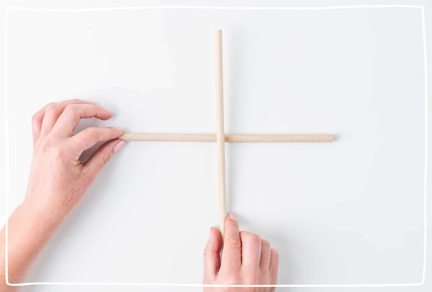 Step 7: Glue your dowels together at the center in the shape of a cross.