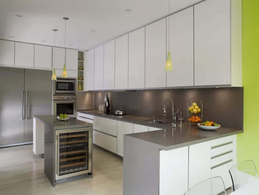 white kitchen cabinets with gray countertops 70 Transitional Kitchen Ideas Photos