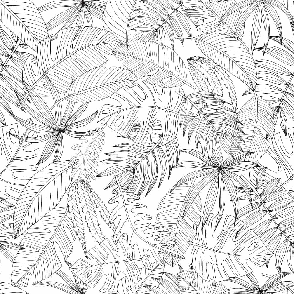 An illustration featuring different palm leaves.