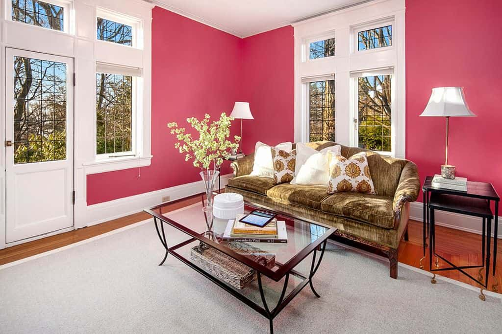 Bright pink living room with glass paneled walls and doors letting natural light in. It has a brown couch paired with glass top coffee table that sits on a gray rug.