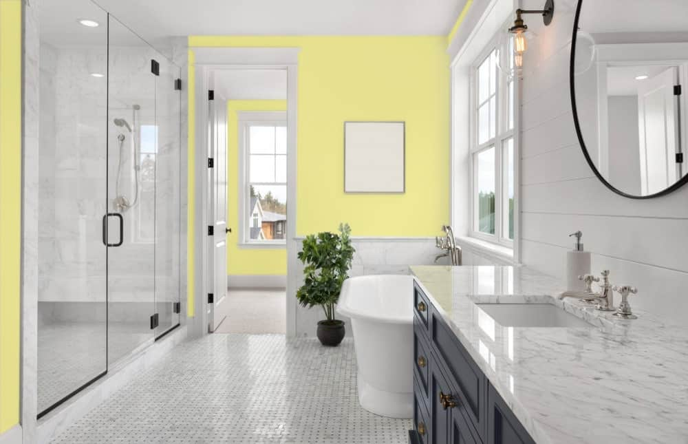 Yellow Master Bathroom Interior - Pantone 100