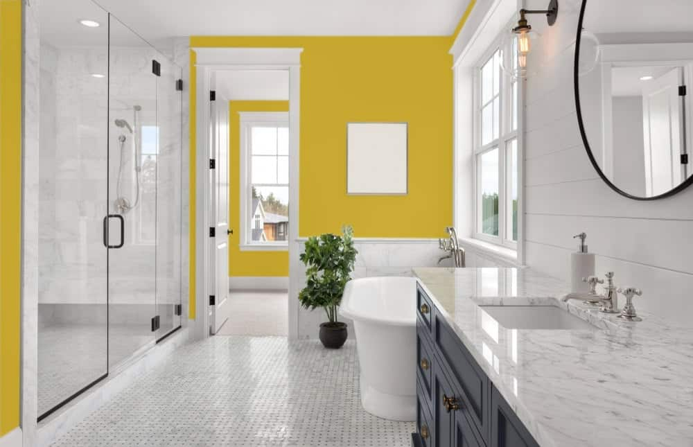 Mustard Yellow Master Bathroom Interior - Pantone 117
