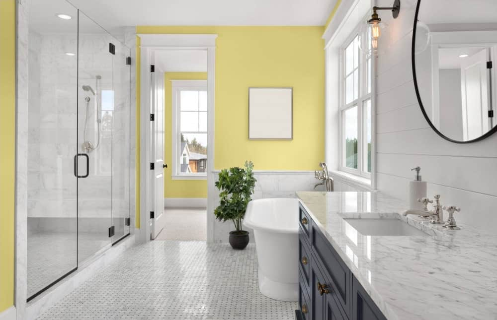 Soft Yellow Master Bathroom Interior - Pantone 127