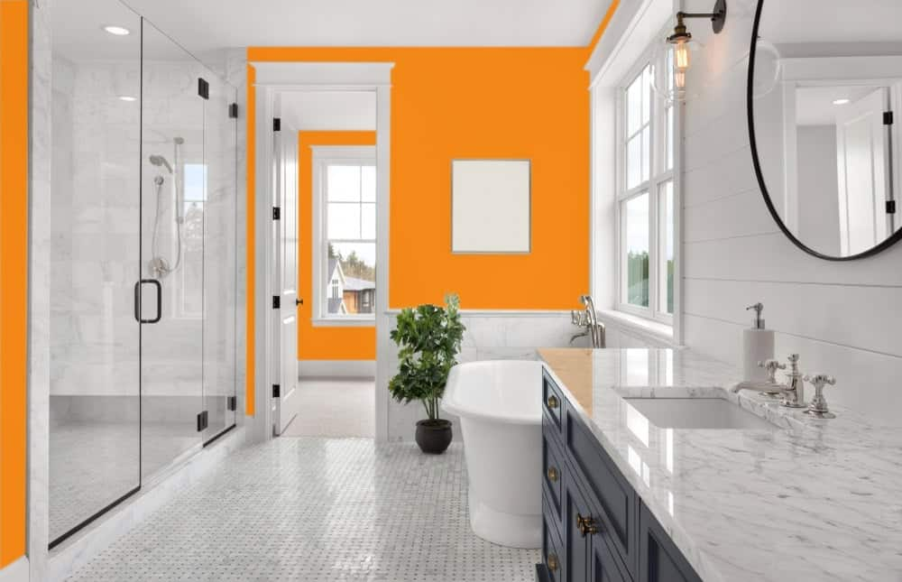 Orange Master Bathroom Interior - Pantone 151