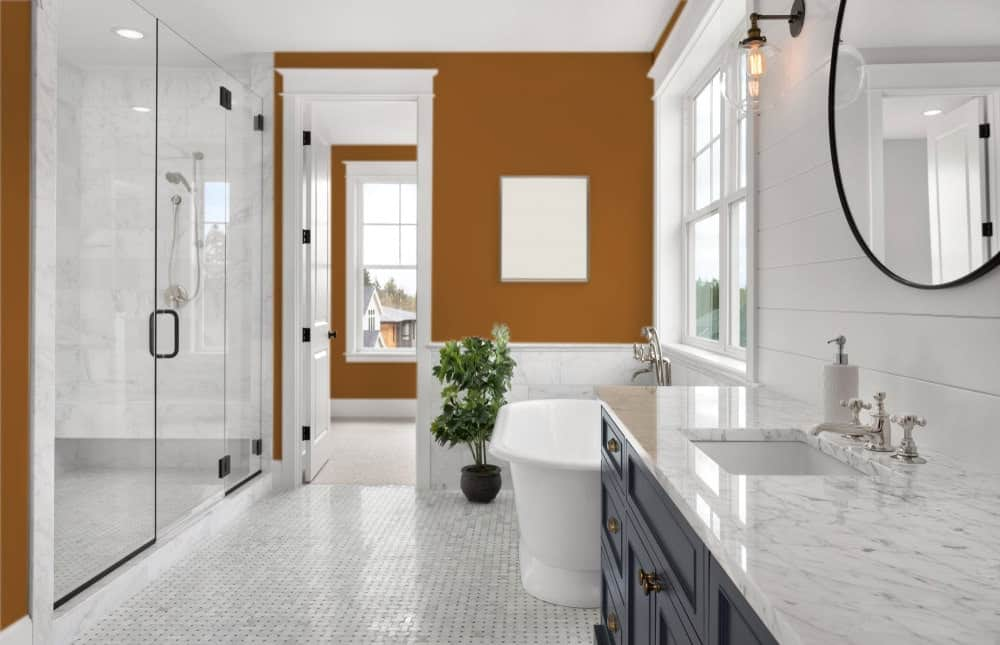 Brown Orange Master Bathroom Interior - Pantone 160