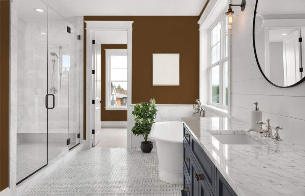 Brown Master Bathroom Interior - Pantone 161