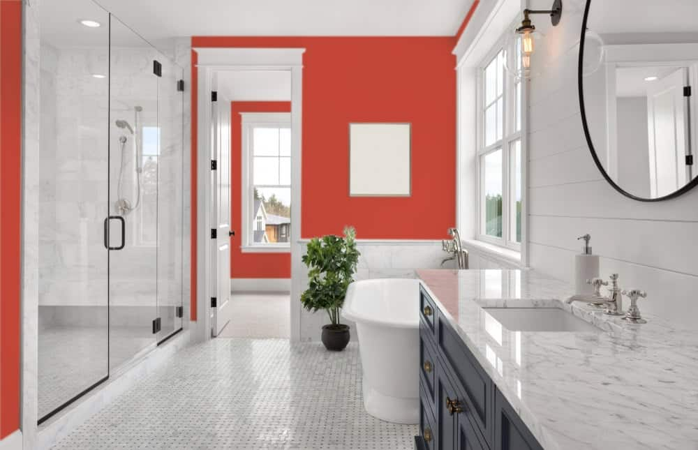 Red Master Bathroom Interior - Pantone 180
