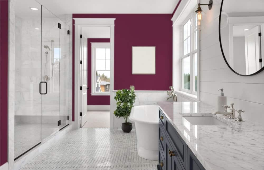 Deep Purple Master Bathroom Interior - Pantone 222