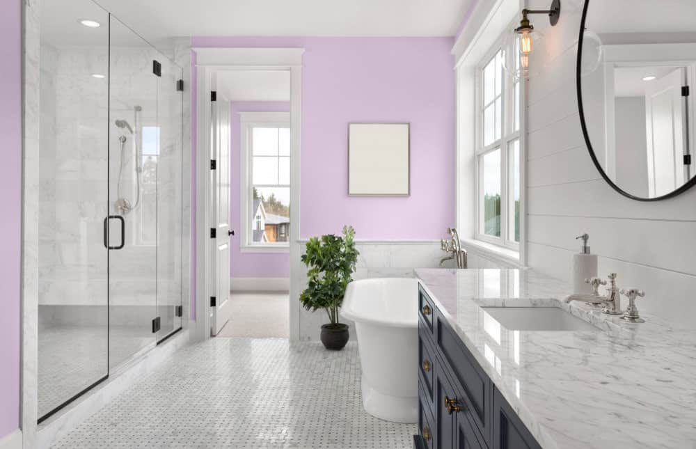 Light Purple Master Bathroom Interior - Pantone 263